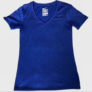 Nike Dri Fit V-Neck Women's Shirt Royal Blue SZ XS